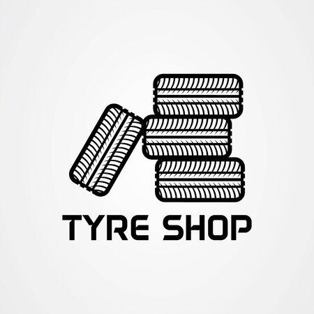 Tire shop logo template. tire icon vector illustration. Vectores