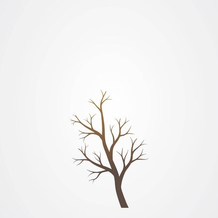 Tree branch without leaves silhouette. Tree branch vector illustration.