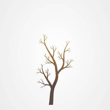 Baumzweig ohne Blätterschattenbild. Baumzweig-Vektor-Illustration.