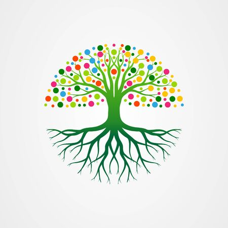 Abstract vibrant tree with roots and leaves shaped circle. tree with round shape vector illustration. Ilustración de vector