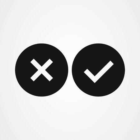 Cross mark and Check mark symbol icon vector Çizim