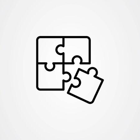Puzzle icon flat vector design in outline style Illusztráció
