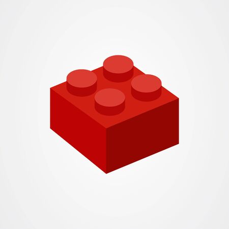 Red children brick toys or building block icon vector illustration