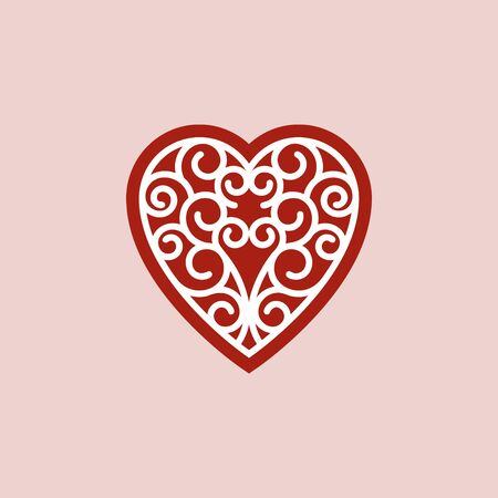 Heart icon with spiral ornament vector illustration