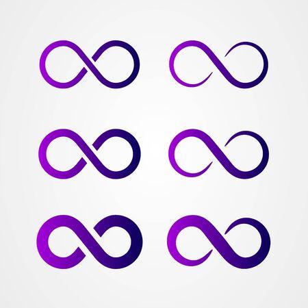 Set of infinity icon logo design. Loop symbol. vector illustration.