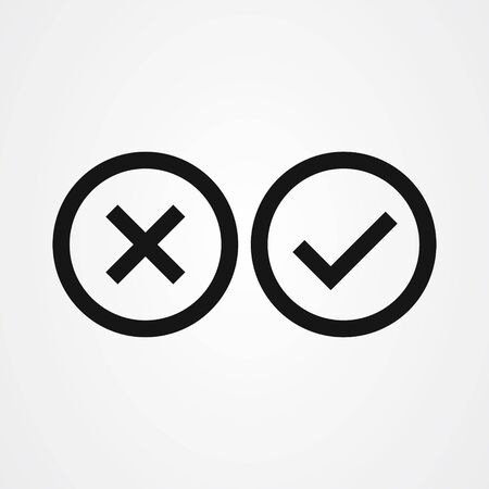 Cross mark and Check mark symbol icon vector Stok Fotoğraf