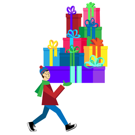 Flat Greeting Card illustration isolated on white background with guy buying presents and gift boxes for Christmas holidays or Birthday. Christmas sales shopping
