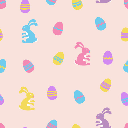 osterhase: Seamless vector pattern with easter bunny and eggs on pink background