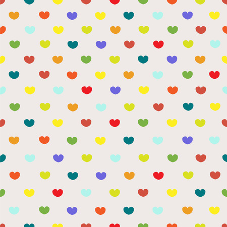 tender: Vintage colored polka dot heart textile print seamless pattern