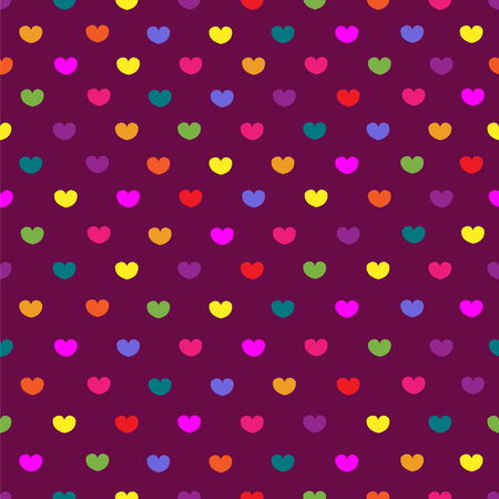 polychromatic: Purple colored hearts textile print seamless pattern background Illustration