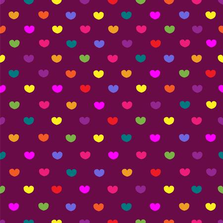 fondness: Purple colored hearts textile print seamless pattern background Illustration