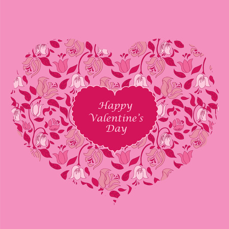 fondness: Pink floral heart valentine card. Valentines Day.