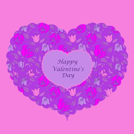 fondness: Purple floral heart valentine card. Valentines Day.