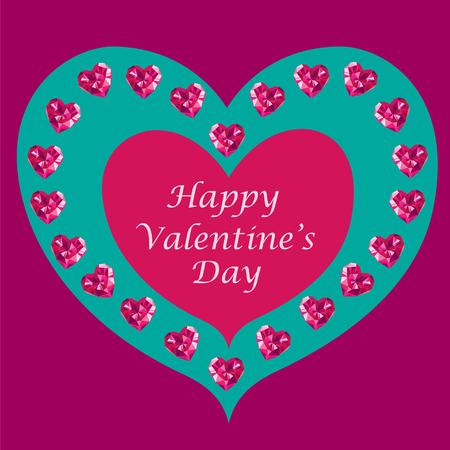 corazones azules: Crystal tarjeta de corazones de San Valentín. ilustración de la plantilla del día de San Valentín