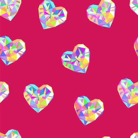 red diamond: Valentine red diamond seamless vector pattern. Valentines day pink background.