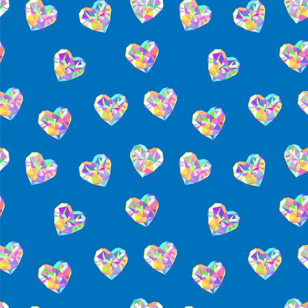 dearness: Valentine blue diamond seamless vector pattern. Valentines Day blue background. Illustration