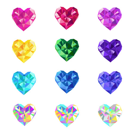 sapphires: Crystal jewel hearts isolated vector illustration. Colorful gems. Valentines Day precious love hearts.