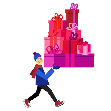 saint valentine s day: Flat vector Greeting Card illustration isolated with guy buying presents for Valentines Day, holidays or Birthday. Valentines day sales shopping. Love Mountain Gifts for You Illustration