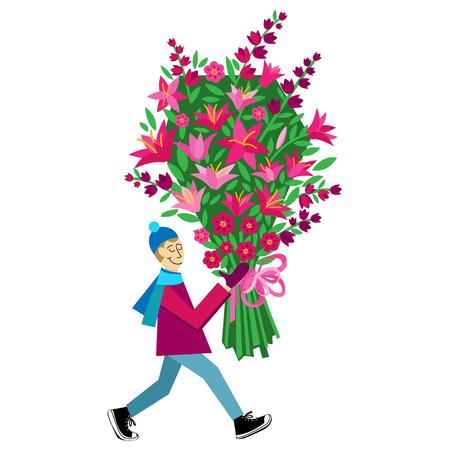 greeting cards International Women s Day: Flat vector Greeting Card minh họa bị cô lập trên nền trắng với mua chàng bó hoa cho Ngày Valentine, ngày lễ hay sinh nhật. Tình yêu món quà. Ngày tháng 8. Quốc tế Phụ nữ