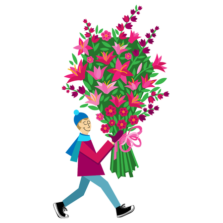 Flat vector Greeting Card illustration isolated on white background with guy buying bouquet of flowers for Valentines Day, holidays or Birthday. Love gift.  March 8. International Womens Day Illustration