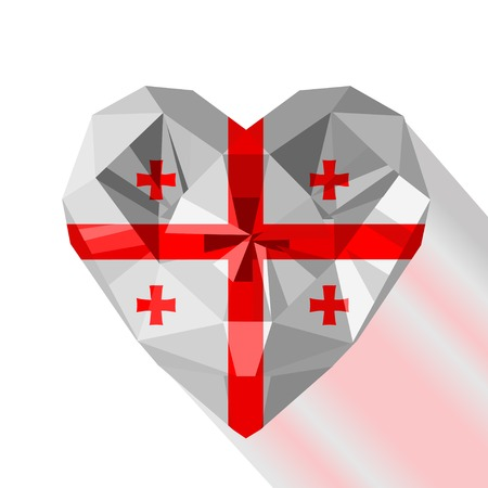 crystal heart: Vector crystal gem jewelry heart with the flag of Georgia. Flat style symbol of love Georgia.