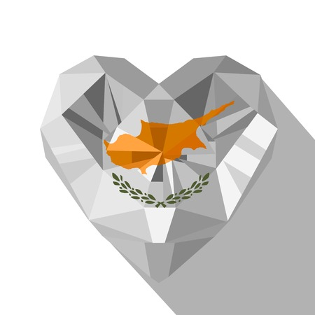 Vector crystal gem jewelry Cypriot heart with the flag of the Republic of Cyprus. Flat style symbol of love Cyprus.