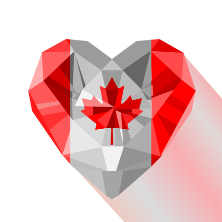 Vector crystal gem jewelry Canadian heart with the flag of Canada. Flat style symbol of love Canada. Illustration