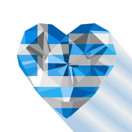 Vector crystal gem jewelry Greek heart with the flag of the Hellenic Republic. Flat style symbol of love Greece. Independence Day  25 March. Europe Illustration