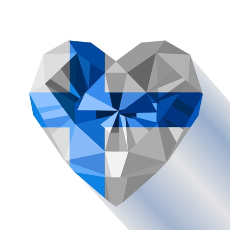 Vector crystal gem jewelry Finnish heart with the flag of the Republic of Finland. Flat style symbol of love Finland. Independence Day 6 December. Europe