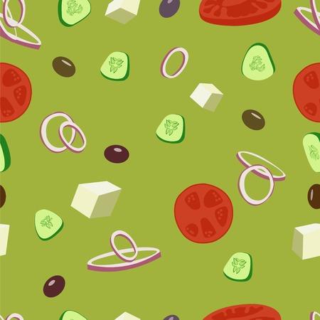 onion rings: Greek salad vector seamless pattern. Greek olive, tomatoes, cucumbers, onion salad background illustration.