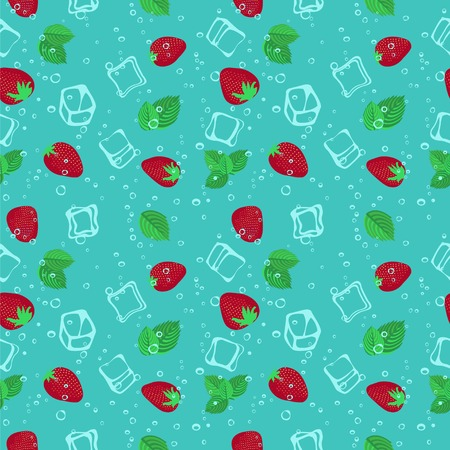 aerated: Strawberry mojito seamless vector pattern.  Ice cubes, strawberry and mint illustration.