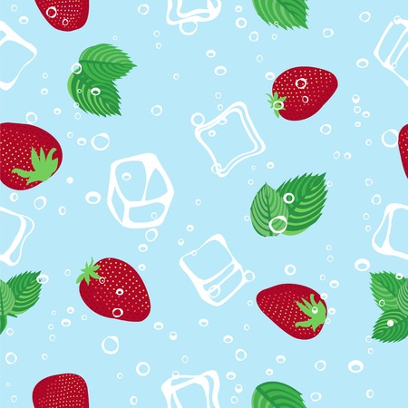 aerated: Strawberry mojito seamless vector pattern.  Ice cubes, strawberry and mint illustration on blue background.