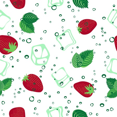 aerated: Strawberry mojito seamless vector pattern.  Ice cubes, strawberry and mint illustration on white background.