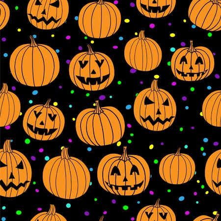 aerated: Party halloween vector textile print seamless pattern with jack-o-lantern pumpkin and confetti. Halloween background. Illustration