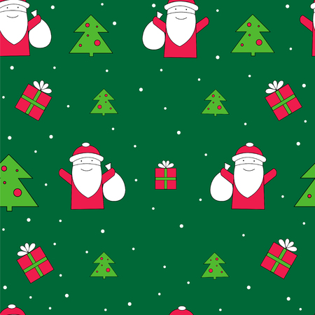 Santa Claus with gifts seamless vector pattern. Christmas holidays background. Santa Claus print for wrapping paper.