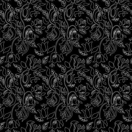 white tulip: Black and white tulip and rose floral textile vector seamless pattern. White rose flowers on black background.