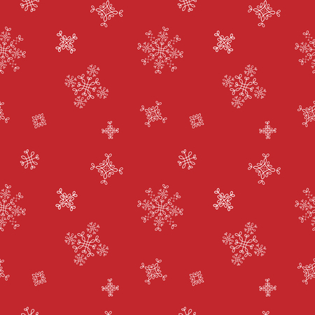 pack ice: Snowflakes seamless vector pattern. Red snow christmas background for wrapping paper. Illustration