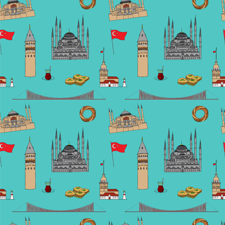 hagia sophia: Colorful Istanbul tourist vector seamless pattern.  Istanbul landmarks background.