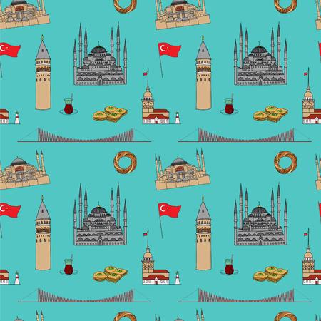 hagia sophia: Colorful Istanbul tourist vector seamless pattern.  Istanbul landmarks background.