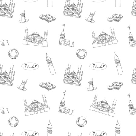 hagia sophia: Black and white Istanbul tourist vector  textile print seamless pattern. Istanbul landmarks background. Illustration