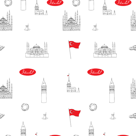 White and red Istanbul tourist vector seamless pattern. istanbul landmarks. Illustration