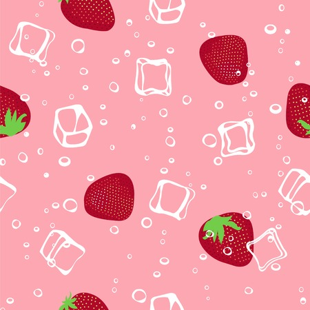 aerated: Ice and strawberry pink seamless vector pattern
