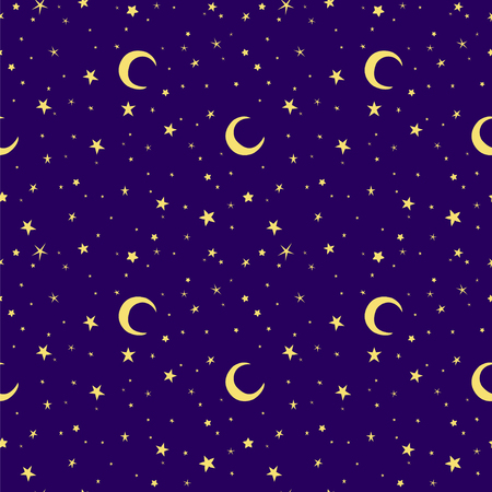 starlit sky: Golden yellow moon and stars sky print seamless pattern. Moons and stars illustration on blue sky background. Illustration