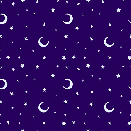 starlit: Golden yellow moon and stars sky print seamless pattern. Moons and stars illustration on blue sky background. Illustration