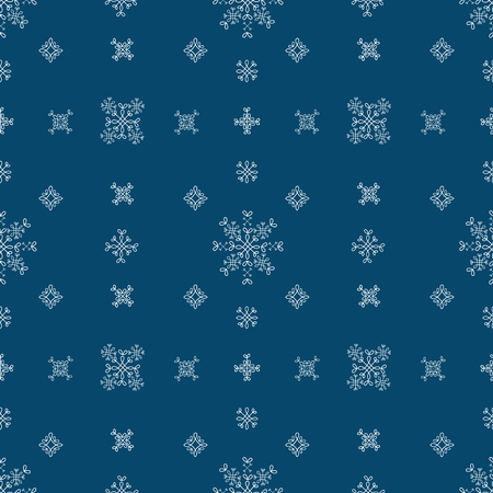 pack ice: Snowflakes seamless vector pattern.Blue snow christmas background for wrapping paper.