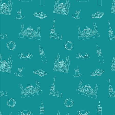 hagia sophia: Turquoise Istanbul tourist vector seamless pattern. Istanbul landmarks background. Illustration