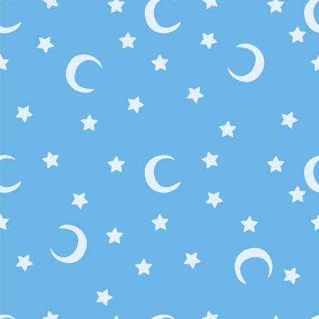 starlit: Blue moon and stars sky print seamless pattern. Moons and stars illustration on blue sky background.