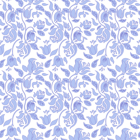 white tulip: Blue and white tulip and rose floral textile vector seamless pattern. Blue rose flowers on white background. Illustration