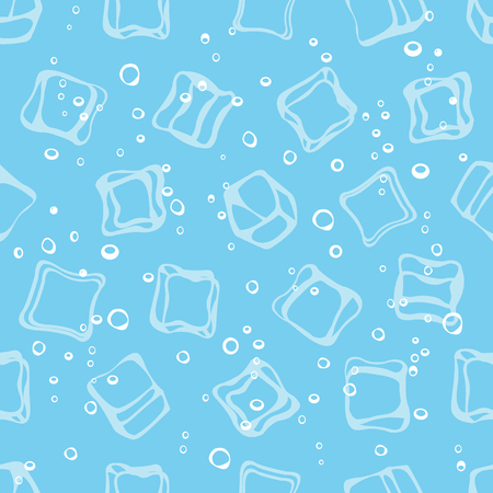 seltzer: Ice cube babbles and water blue textile print seamless pattern. Mineral sparkling water blue background Illustration