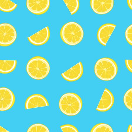 Blue and yellow lemon textile print seamless pattern